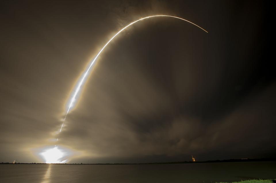 Lancement De La Fusée, Nuit, Trajectoire, Spacex