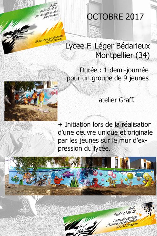 atelier initiation graff realisation par un groupe de 9 jeunes du Lycée F.Légers de Bédarieux (34) d'une oeuvre octobre 2017. toutes les photos ici http://www.jerc-tbm.com/crbst_5.html