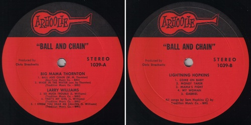 "ALBUM VARIOUS ""BALL AND CHAIN"" - ARHOOLIE RECORDS 1039 - 1974"