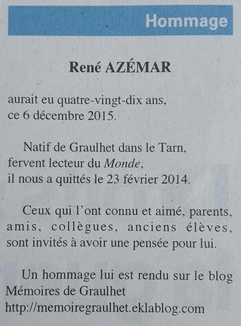 - René AZEMAR : Un homme remarquable
