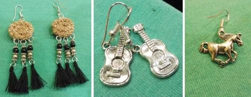 boucles d'oreilles cousues main et BO guitare et cheval