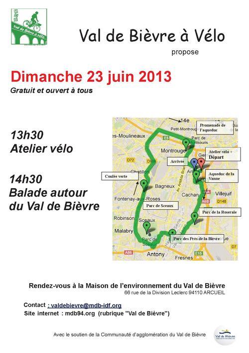 Balade à vélo autour du Val de Bièvre + atelier réparation dimanche 23 juin 2013