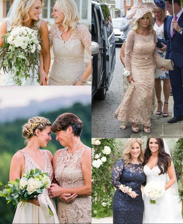 robe de mère de la mariée fourreau en dentelle