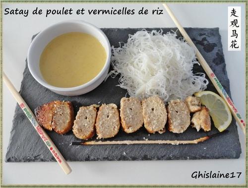 Satay de poulet et vermicelles de riz