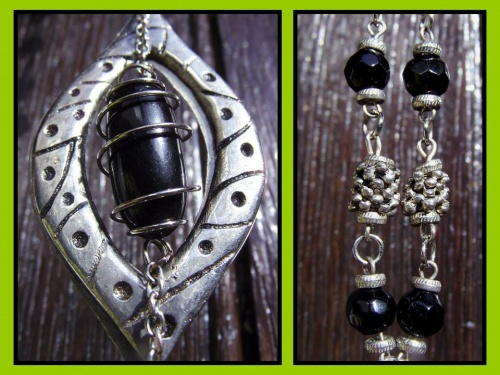 Sautoir noir et métal