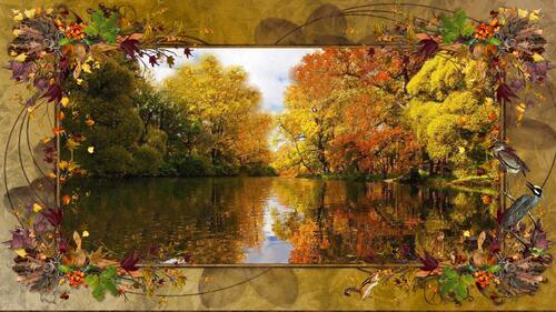 fond automne lac cadre déco