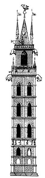 Beffroi à Gand en 1313, dans l'art. de Harris, Illustrated Dictionary of Historic Architecture (whc.uniesco.org)