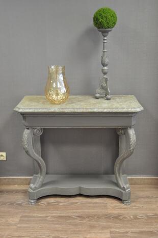 Console époque Restauration patine grise et plateau faux marbre