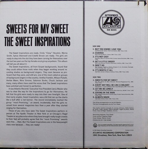 "The Sweet Inspirations : Album "" Sweets For My Sweet  "" Atlantic Records SD 8225 [ US ]"
