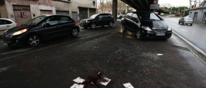 Le lieu où un jeune homme a été tué par des tirs de kalachnikov à Marseille, le 14 janvier 2016