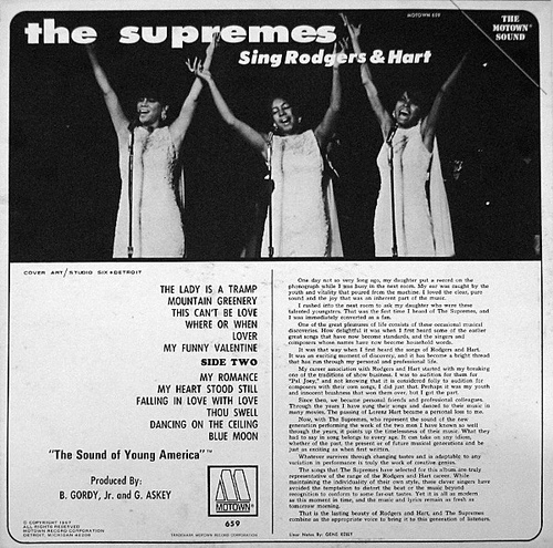 "The Supremes : Album "" Supremes Sing Rogers & Hart "" Motown Records MS 659 [ US ]"