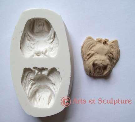 moule en silicone tete de chien Yorkshire - Arts et Sculpture: fabrication de moules et modèles