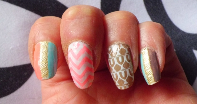 Stamping Nail Art  Ethnic Summer Neon