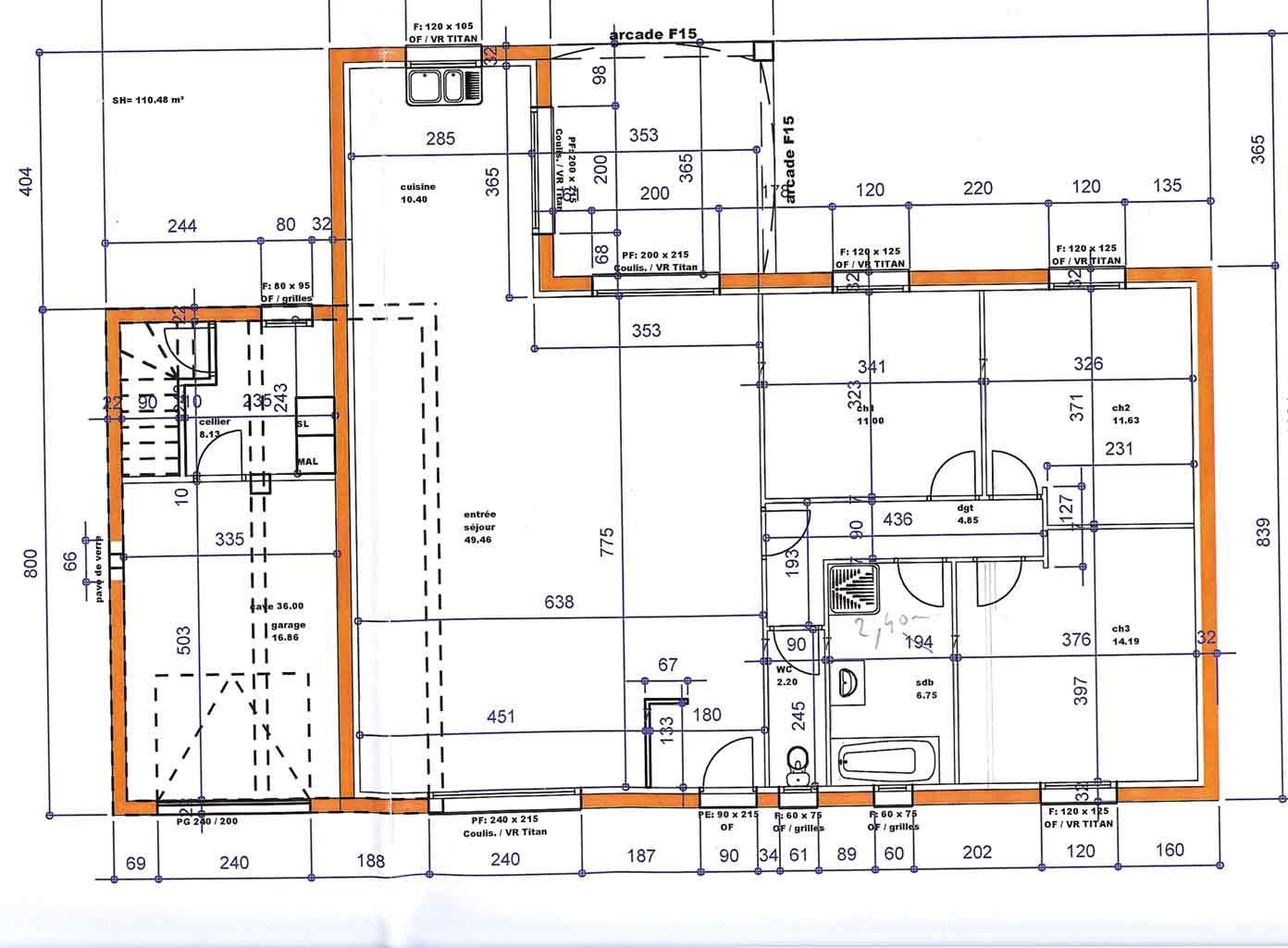 Plan d une maison avec cotation tours design - Plan maison avec cotation ...