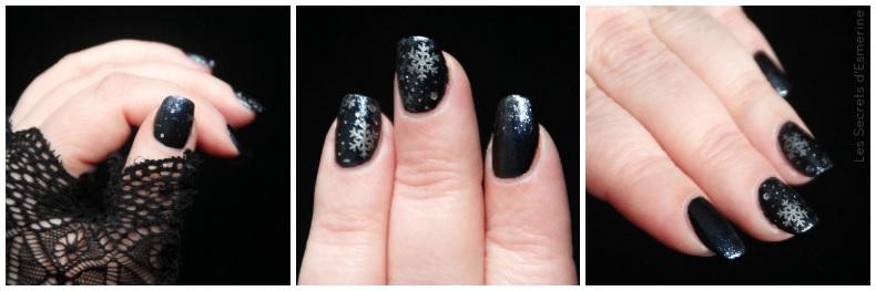 Noël 2017 nail art flocon nuit
