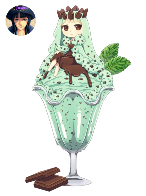 Render Filles/Femmes - Renders Fille Glace Creme glacee Chocolat Feuilles de menthe Coupe