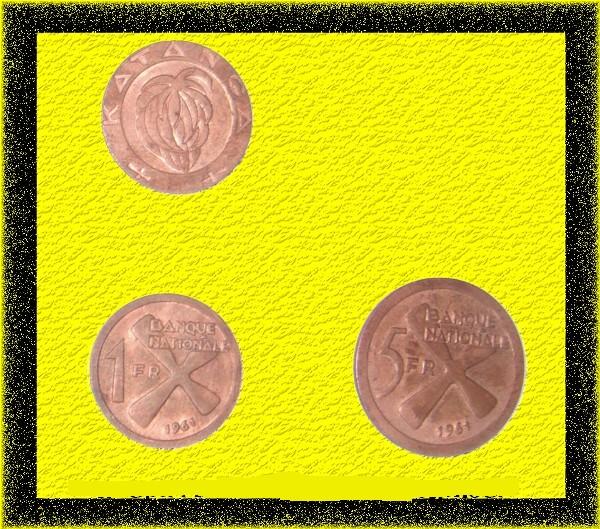 anciennes pieces de monnaie du Katanga