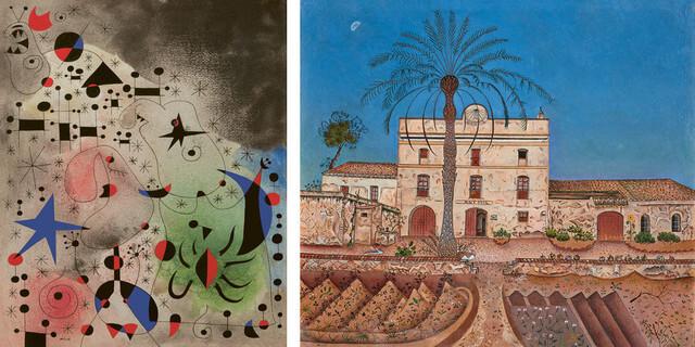 """Joan Miró, à gauche""""L'Oiseau migrateur"""", collection particulière, à droite """"La Maison du palmier"""", 1918, Espagne, Madrid, Museo Nacional Centre de Arte Reina Sofia, 1998"""