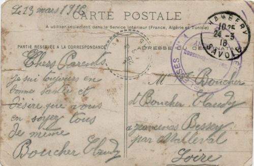 Claudy, canonnier, 1914-1919