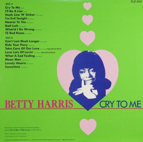 "Betty Harris : Album "" Cry To Me "" P-Vine Special Records PLP-363 [ JP ]"