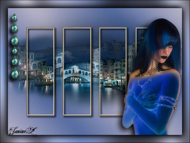 femme en bleu