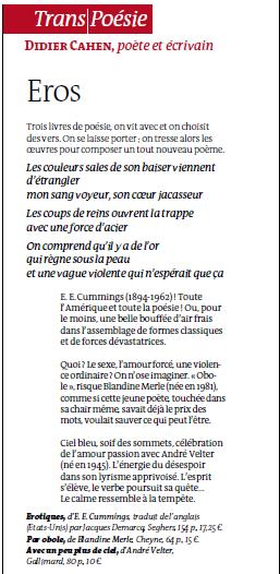 Trans/Poésie - Article de Didier Cahen, le Monde des livres