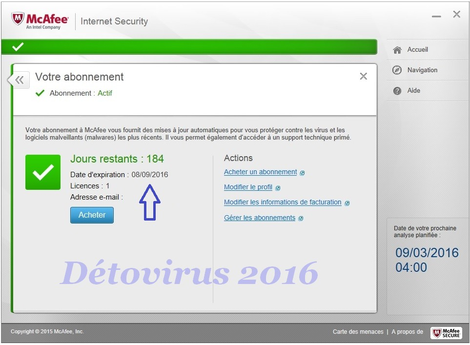 Mcafee Internet Security 2016 Licence 6 Mois Gratuits