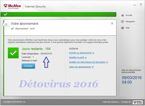 McAfee Internet Security 2015 - Licence 6 mois gratuits