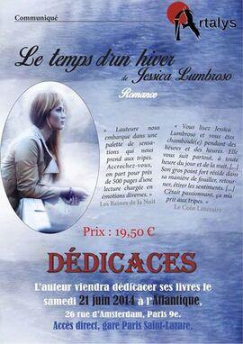 """Jessica Lumbroso - dédicace de """"Le Temps d'un hiver"""", l'Atlantique, Paris 9ème."""