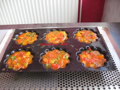 Flans de poivrons rouges et de tomates