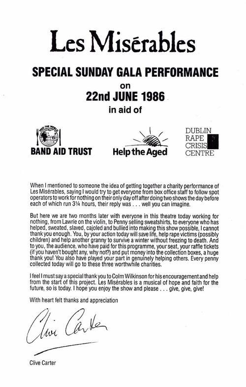 Brochure Représentation Spéciale au bénéfice de 3 associations 1986