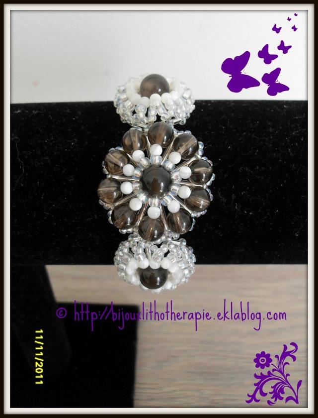 bracelet quartz fumé nacre et agate botzwana