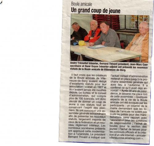 BOULE AMICALE - LA TRIBUNE DU 22 MARS 2012