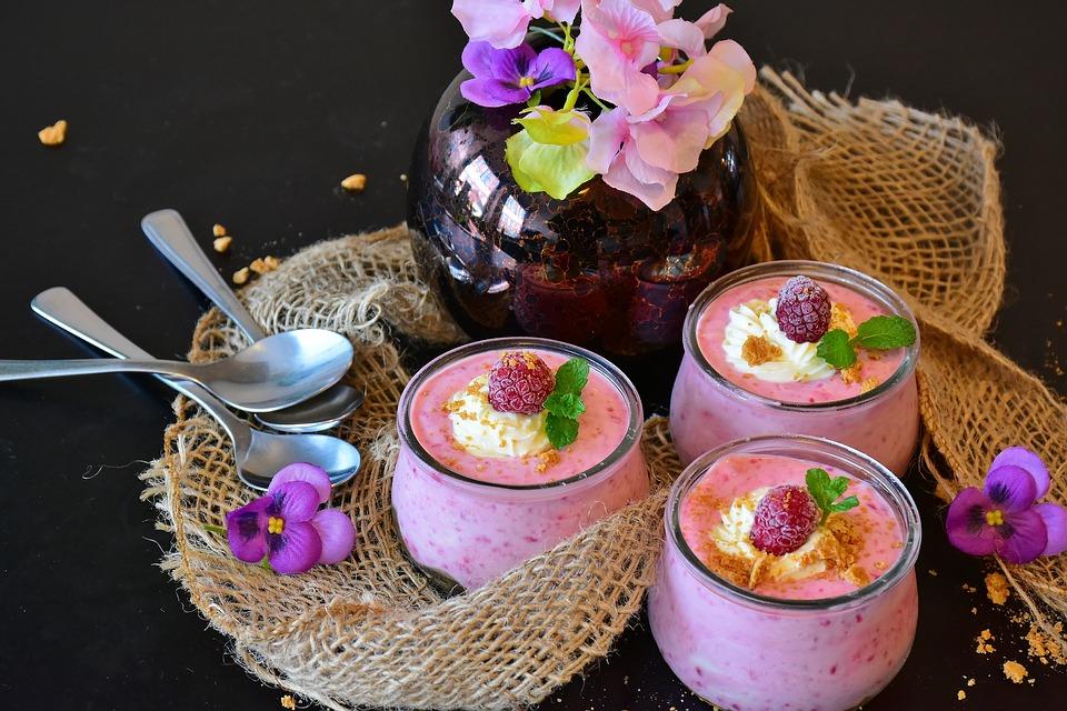Quark, Quark Cream, Raspberries, Dessert, Cream