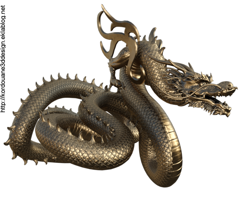 Tube de dragon  doré (render-image)