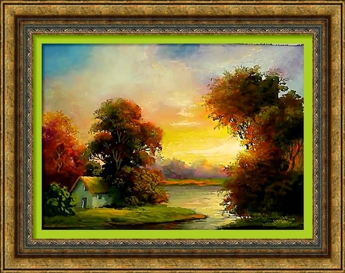 Dessin et peinture - vidéo 2598 : Paysage au bord de l'étang - peinture à la gouache.