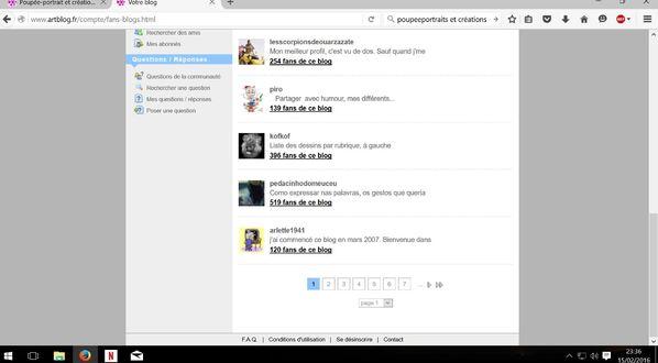 """Capture liste interne """" Blogs amis"""" avec photos, avatar..."""