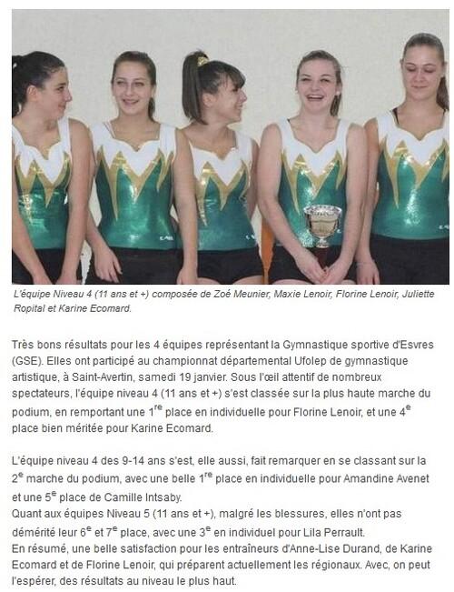 Podiums pour la gymnastique sportive d'Esvres