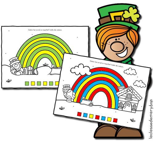 Saint-Patrick : Arc-en-ciel à colorier