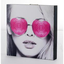 Box art Pink glasses - Polyester et MDF - 3 x 20 x 20 cm - Rose et gris