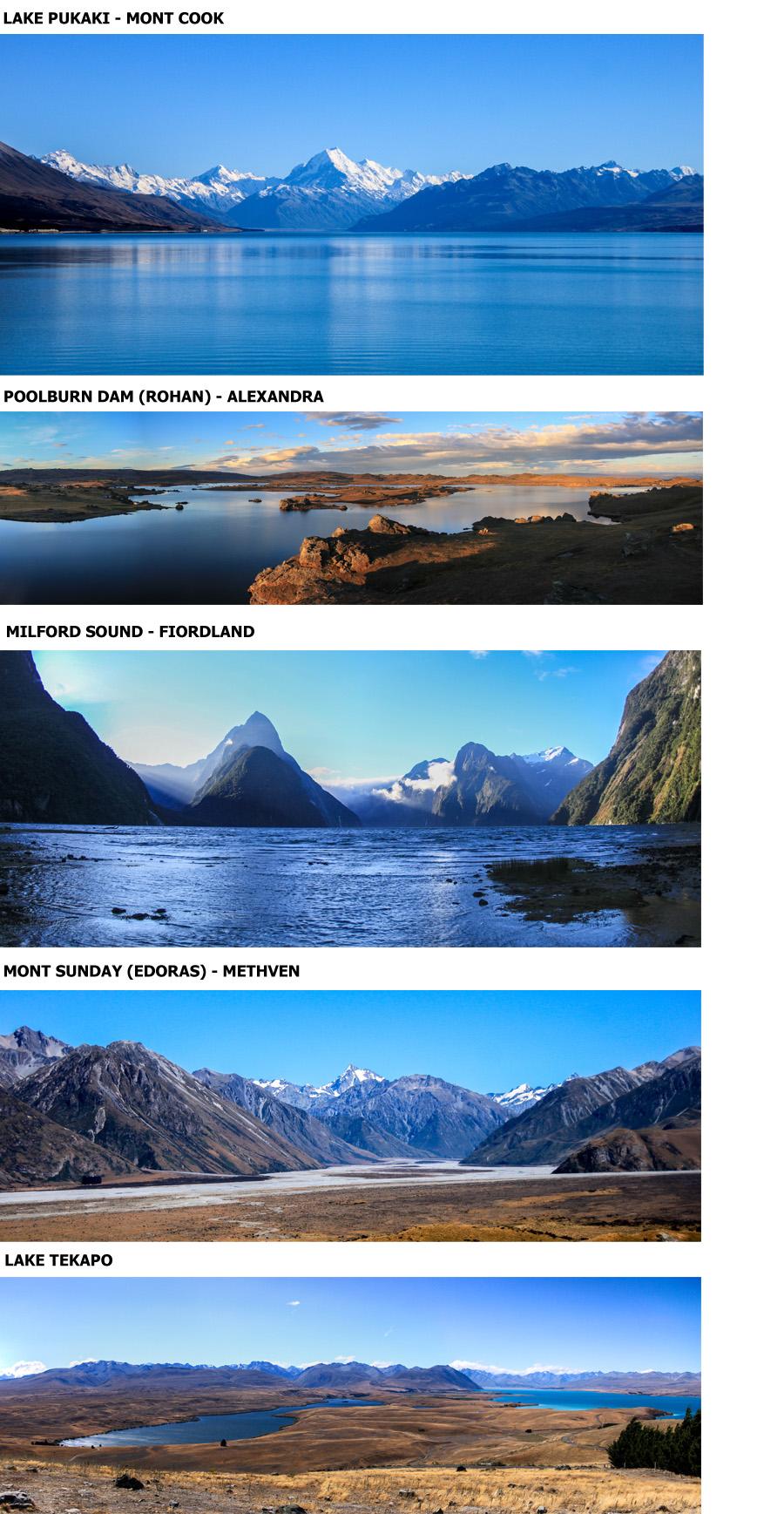 TOP 5 des paysages de l'île du sud ...