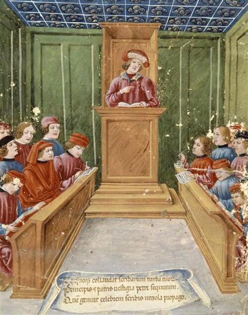 Cours de Droit à l'Université au Bas Moyen Âge