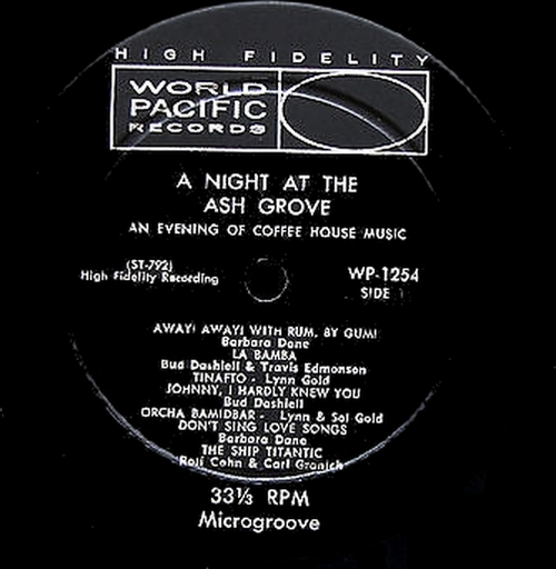 "Various Artists ( Barbara Dane ) : Album "" A Night At The Ash Grove "" World Pacific Records WP-1254 [ US ]"