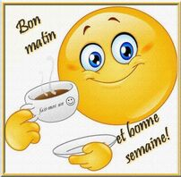 Bon matin et bonne semaine! #bonnesemaine cafe smiley matin bonne humeur |  Emoji drôle, Emoticone, Dessin smiley