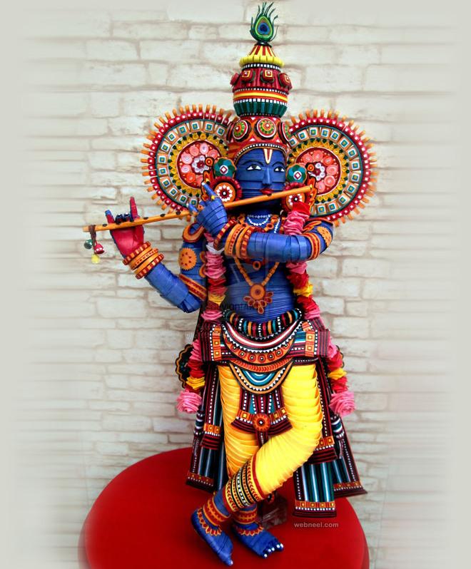lord krishna quilling art byvaishalirastogi