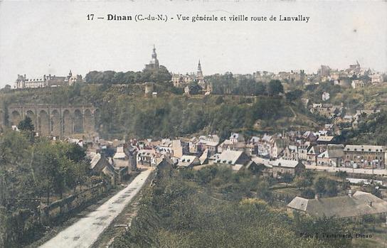 Peut être une image de plein air et texte qui dit '17 Dinan (C.-du-N.) Vue générale et vieille route de Lanvallay'