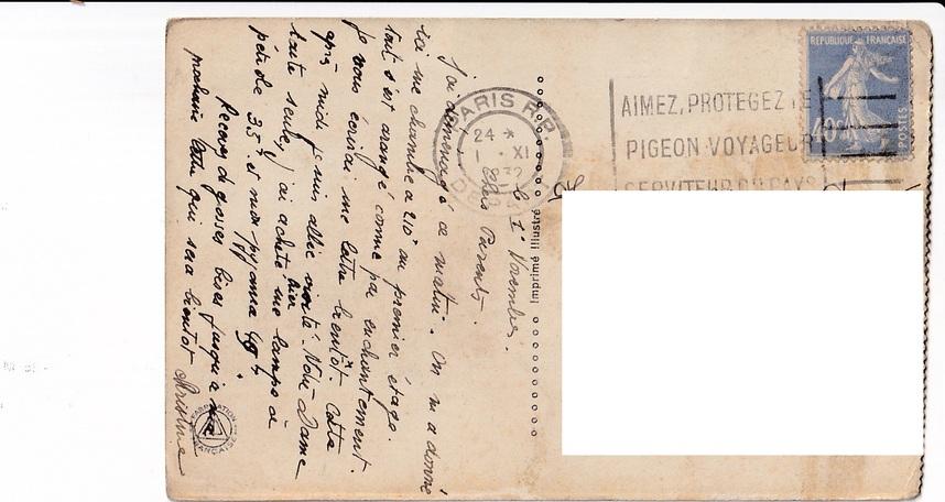 Carte postale - Timbre et flamme - Paris - Notre Dame - 1932