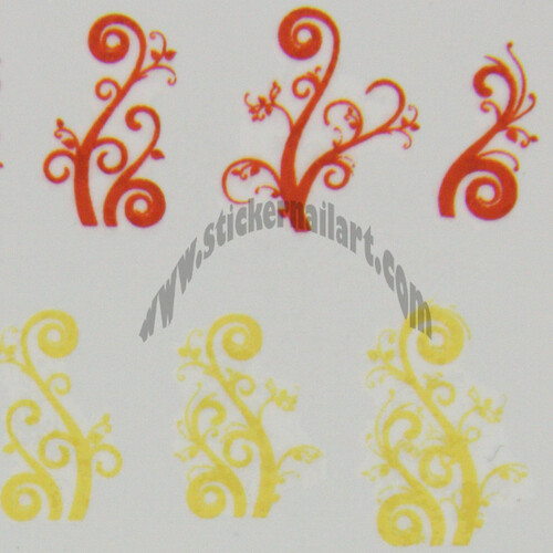 Water decal arabesque vigne jaune orange