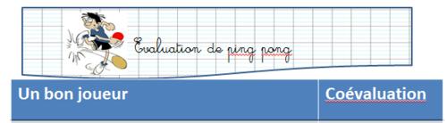 évaluation ping pong