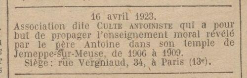 Paris - Journal officiel de la République française. Lois et décrets 16 av. 1923
